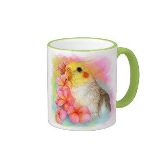 Cockatiel with frangipani coffee mug