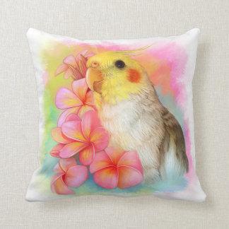 Cockatiel with frangipani throw pillow