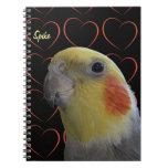 Cockatiel y corazones lindos cuadernos