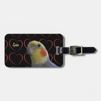Cockatiel y corazones lindos etiquetas de maletas