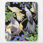 Cockatiels and Flowers Mousepad