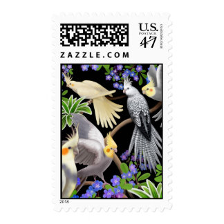 Cockatiels and Flowers Postage