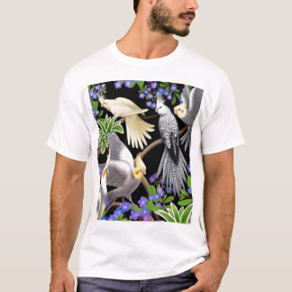 Cockatiels and Forget Me Nots T-Shirt