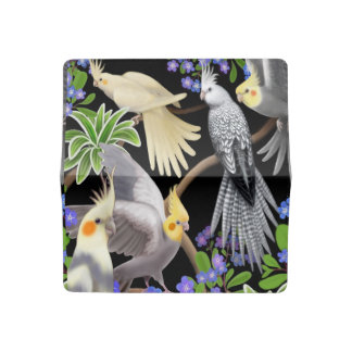 Cockatiels in Forget Me Not Flower Checkbook Cover