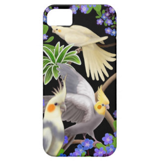 Cockatiels in Forget Me Nots iPhone Case