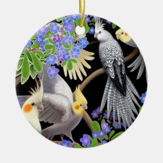 Cockatiels in Forget Me Nots Ornament