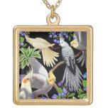 Cockatiels in Garden Flowers Necklace