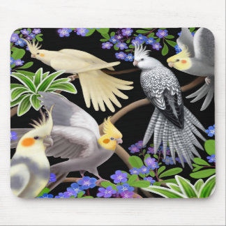 Cockatiels y flores Mousepad Alfombrillas De Raton