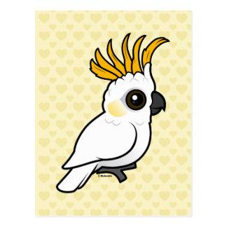 Cockatoo Amarillo-con cresta escudo para arriba Postales