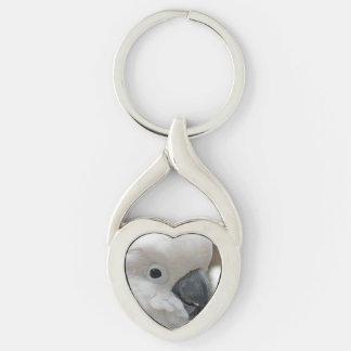 Cockatoo blanco bonito llavero plateado en forma de corazón