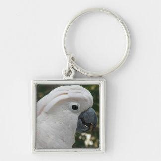 Cockatoo blanco llavero cuadrado plateado