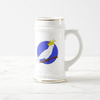 Cockatoo con cresta amarillo jarra de cerveza