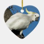 Cockatoo con cresta del azufre adorno navideño de cerámica en forma de corazón
