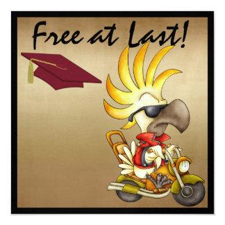 Cockatoo Graduation Biker - SRF 5.25x5.25 Square Paper Invitation Card