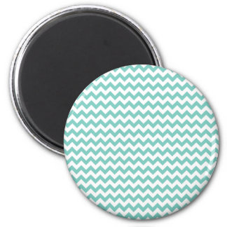 Cockatoo - Green Mint And White Zigzag Chevron 2 Inch Round Magnet