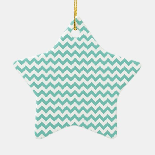 Cockatoo - Green Mint And White Zigzag Chevron Double-Sided Star Ceramic Christmas Ornament