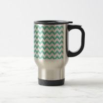 Cockatoo - Green Mint And White Zigzag Chevron Travel Mug