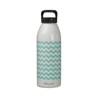 Cockatoo - Green Mint And White Zigzag Chevron Drinking Bottles