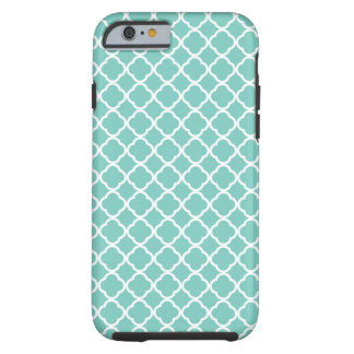 Cockatoo, Mint Green And White Quatrefoil Pattern Tough iPhone 6 Case