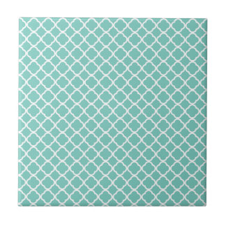 Cockatoo, Mint Green And White Quatrefoil Pattern Tile