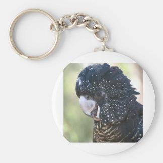 Cockatoo negro llavero redondo tipo pin