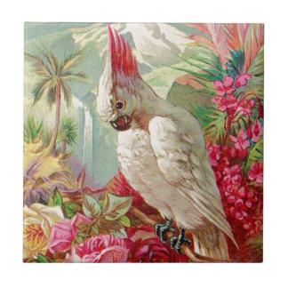 Cockatoo & Roses Vintage Art Tile