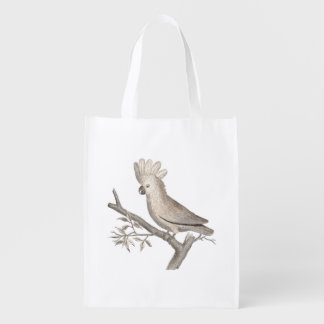 Cockatoo Tropical Bird Parrot Antique Engraving Grocery Bags