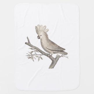 Cockatoo Tropical Bird Parrot Antique Engraving Receiving Blanket