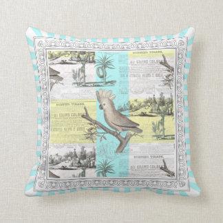 Cockatoo Tropical Dream Aqua Stripes Throw Pillow