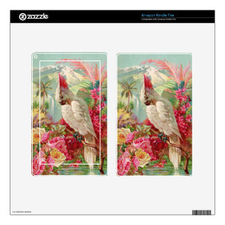 Cockatoo Tropical Plumeria and Pink Roses Skins For Kindle Fire
