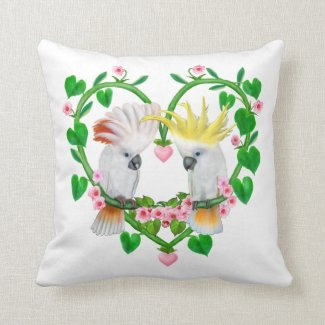 Cockatoos of the Heart Throw Pillow