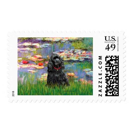 Cocker (black) - Lilies 2 Postage Stamp