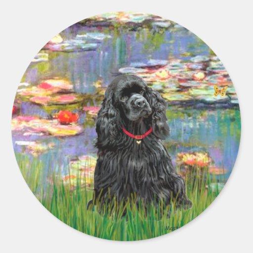 Cocker (black) - Lilies 2 Round Sticker