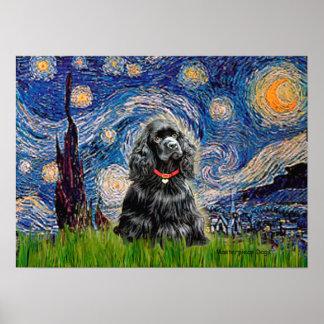 Cocker (black) - Starry Night Poster