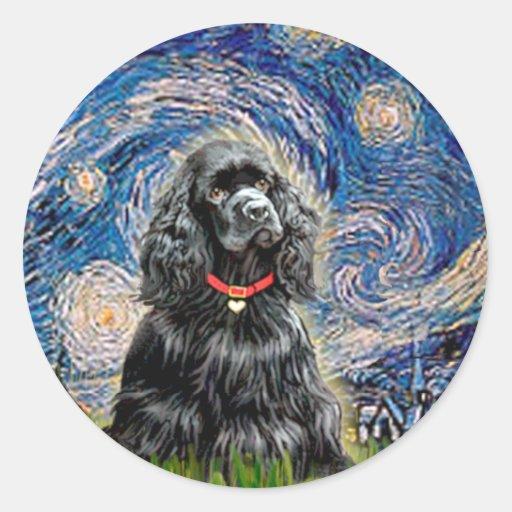 Cocker (black) - Starry Night Round Stickers