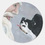 Cocker Spaniel and Santa Claus Art Sticker