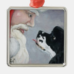 Cocker Spaniel and Santa Dog Art Ornament
