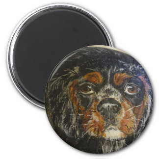 Cocker Spaniel, black and tan 2 Inch Round Magnet