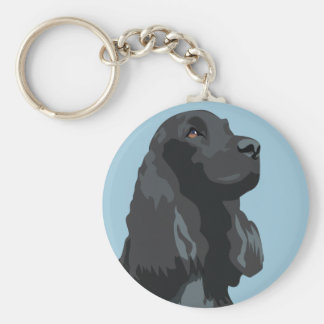 Cocker Spaniel - Black - Basic Breed Templates Keychains