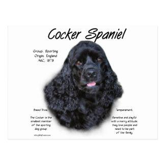 Cocker Spaniel (black) History Design Post Cards