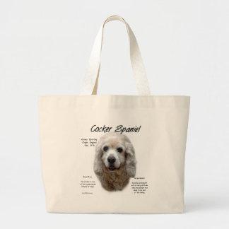 Cocker Spaniel (buff) History Design Large Tote Bag