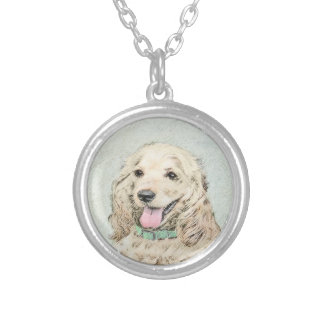 Cocker Spaniel (Buff) Silver Plated Necklace