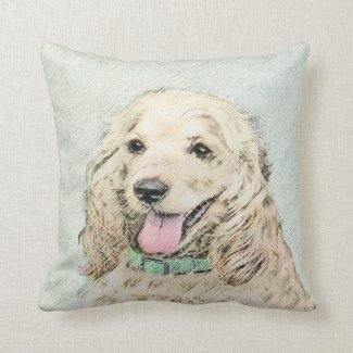 Cocker Spaniel (Buff) Throw Pillow