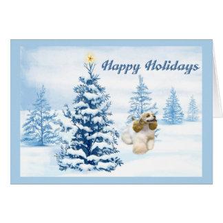 Cocker Spaniel Christmas Card Blue Tree
