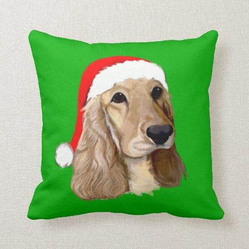 Cocker Spaniel Christmas on Green Pillow