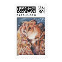 cocker spaniel christmas postage stamp