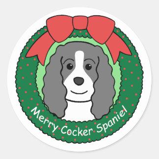 Cocker Spaniel Christmas Round Sticker