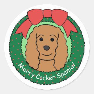Cocker Spaniel Christmas Round Stickers
