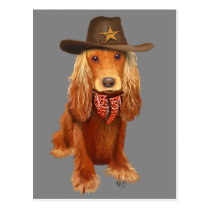 Cocker Spaniel Cowboy Postcard