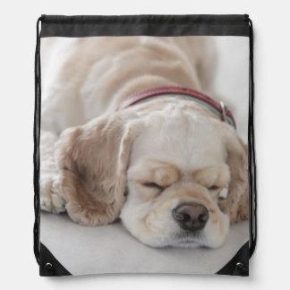 Cocker spaniel dog sleeping drawstring backpack